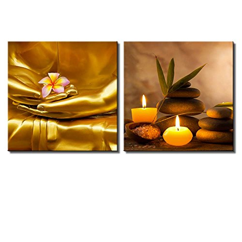 wall26 Two Piece Canvas - Copper Buddha Holding a Plumeria Along with Candles and Rocks on 2 Panels - Canvas Art Home Art - 24x24 inches