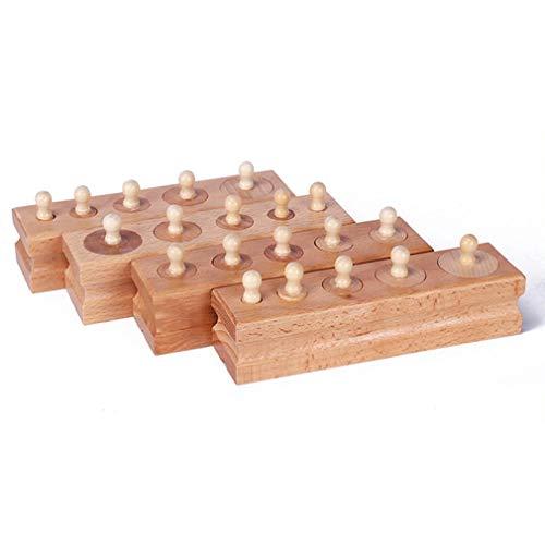 Bellaluee Materiales Montessori Juguetes Montessori Juegos educativos Bloques de Enchufe de Cilindro Juguetes de matemáticas de Madera Interacción Entre Padres e Hijos