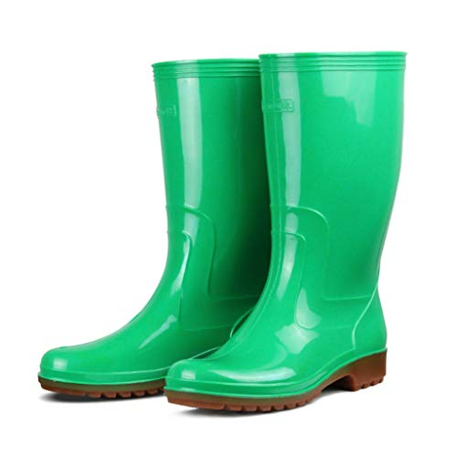De Las Mujeres Antideslizantes al Aire Libre Botas de Lluvia Botas de Lluvia a Prueba de Agua y Resistente al Desgaste Outdoor (Color : Green, Size : 36)