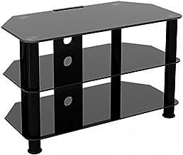 King Mesas de TV de Cristal, de Cristal Negro Gabinete Mueble Plataforme de TV, Cable Gestión, LCD, LED, HD, curvado, 4K, 25