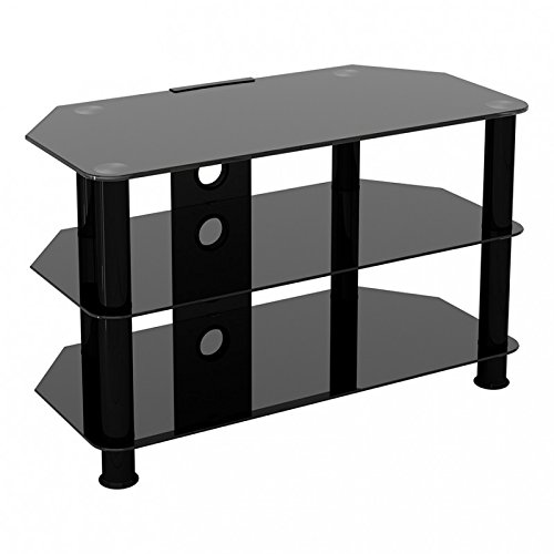King Universal Black Glass TV Stand 80cm suitable up to 42