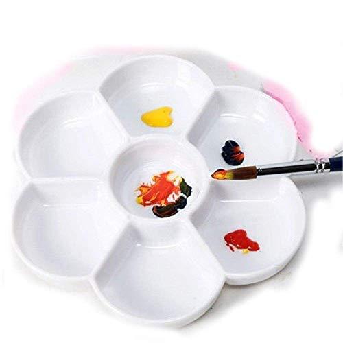 Chiloskit Paleta de Mezcla de Pintura de Acuarela en Forma de Margarita de cerámica de 7 pocillos Paleta de Pintura de Artista para Agua, Aceite o Color acrílico (7 Pulgadas / 17,8 cm)