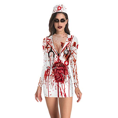 KESYOO 1 Unid Disfraz de Miedo de Halloween Disfraz de Asesino de Halloween Vestido de Cosplay de Halloween para Cosplay de Fiesta sin Accesorios de Jeringa - Talla Xl
