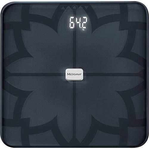 medisana BS 450 digitale weegschaal voor lichaamsanalyse 180 kg, zwarte personenweegschaal voor het meten van lichaamsvet, lichaamswater, spiermassa en botgewicht, lichaamsvetweegschaal met app