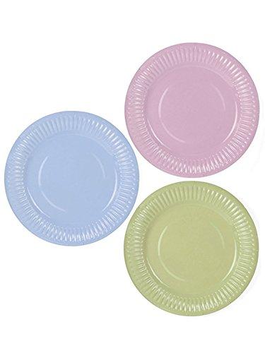 PartyDeco - Lot de 6 assiettes en carton de couleur pastel, TPP8.