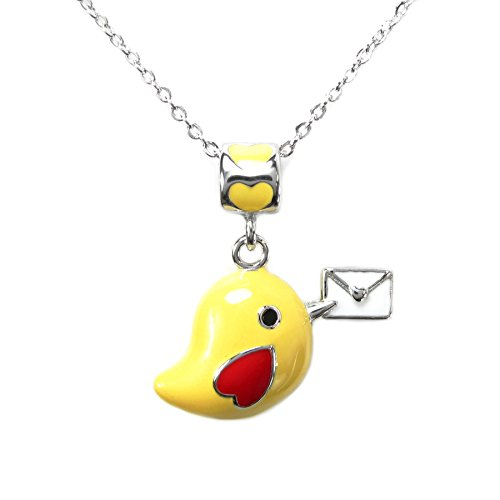 Emaille baumeln gelb Bird mailprogramm Love Charm Bead Anhänger w/Sterling Silber Kette Halskette 35,6cm + 5,1cm Extender