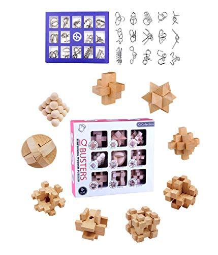 LOSGO Adventskalender 24 Stück Knobelspiele Set: 9 Puzzle aus Holz + 15 aus Metall, Knobeleien Set Rätsel Spielzeug 3D-Puzzle Spiele Set Kleines Geschenk für ältere Kinder, Jugendliche, Erwachsene