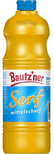 BAUTZ'NER Senf mittelscharf – 1000 ml Flasche Mittelscharfer Senf – Original Bautz'ner Rezeptur seit 1955 – Ohne Zusatz von Konservierungsstoffen und Geschmacksverstärkern – Senf
