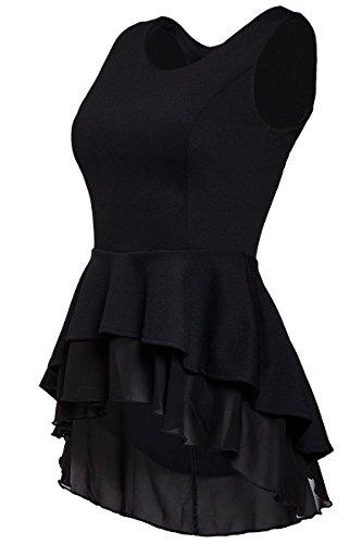 Laeticia Dreams Damen Bluse Schößchen S M L XL, Farbe:Schwarz, Größe:38