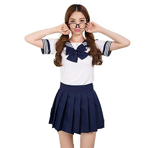 Precioso Uniforme de Uniforme Escolar de Japón Uniforme Set Sailor Suit Disfraces de Cosplay (Armada, S)