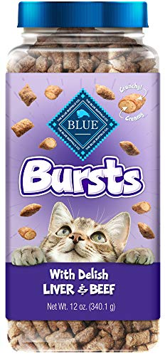 Blue Buffalo Bursts Crunchy Cat Treats Chicken Liver and Beef 12-oz tub