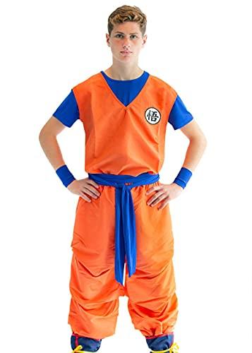 CoolChange 3-teiliges Cosplay Kostüm von Son Goku mit GO Zeichen | Größe: XL