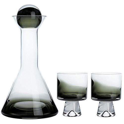 LEILEI Juego de decantador y Vasos de Whisky,Juego de decantador de Whisky Grande Degradado Ahumado con 2 Vasos de la casa,Juego de Copas de Vino de Ron Vodka,Verde