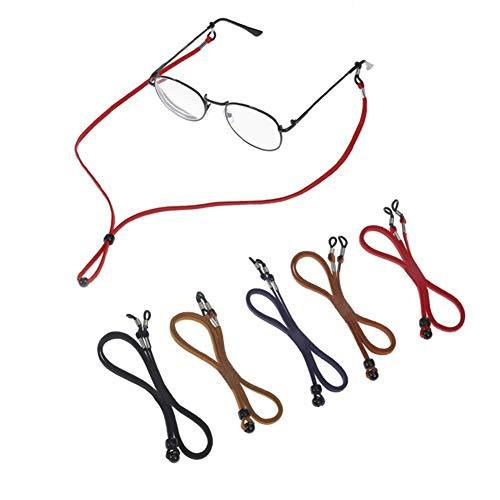 Opopark 5 Piezas de Cadena de Gafas de Cuerda de Cuero,Cuerda de Gafas Antideslizante,Cuerda de Montura de Gafas Clásicas,para Los Deportes y Actividades al Aire Libre