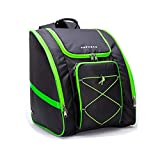 PAPAZAU Ski Boot Bag – Skiing and Snowboarding Travel Backpack – Stores Gear Including Jacket, Helmet, Goggles, Gloves & Accessories (Neon Green Trim)