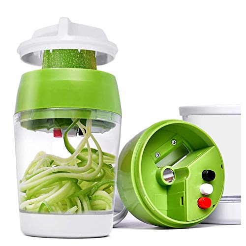 Spiralizzatore per verdure 4 in 1 palmare, Alldo Zucchine Zucchine Noodle Maker Affettatrice Taglierina per cetrioli, carote