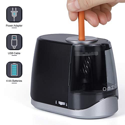 OMZER - Sacapuntas eléctrico resistente – afilado rápido y diseño seguro para niños y adultos – sacapuntas para lápices de colores con batería USB alimentado por USB para oficina en casa