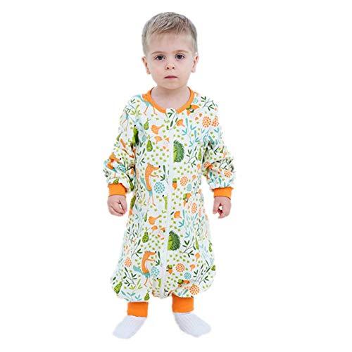 Bebé Saco de Dormir Algodón Bolsa de Dormir con Piernas 1.5 Tog Mameluco Primavera Otoño Pijamas Manga Larga para Niños Niñas, 2-3 Años