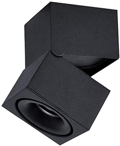 SYunxiang Lámpara de techo de panel comercial cuadrado Black Aluminio Ángulo ajustable LED LED Downlight Luces de techo Ahorro de energía Focos LED para el Dormitorio Estudio Hall (Color : 5000k)