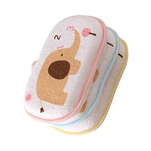 PIXNOR 3 Stücke Baby Badeschwamm Baumwolle Waschlappen Kleinkind Kinder Körperpeeling Badehandschuhe Scrubbing Massage Körperpflege Badezubehör Mischfarbe