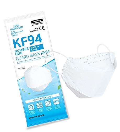 HAPPYDAY KF94マスク 10枚入り 4層構造 高機能性 不織布マスク 衛生マスク 大型 白 立体構造 使い捨て 柳葉型マスク 韓国製