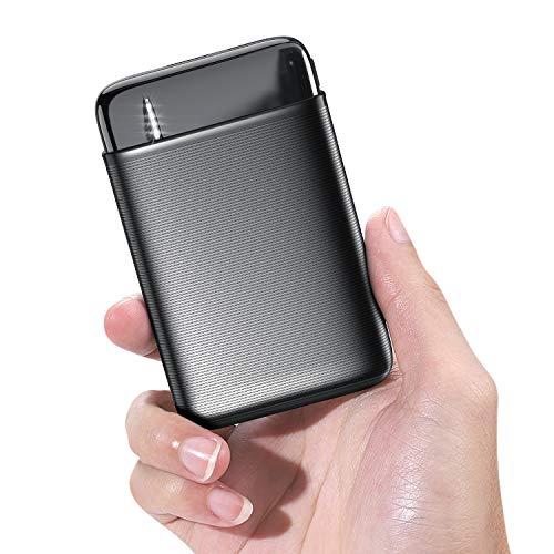 RIWNNI Mini Powerbank 10000mAh, Kompakte Externer Akku Klein und Leicht Handy Tragbares Ladegerät [Dual USB Ausgänge, Type c & Micro USB Eingänge] für iPhone, iPad, Samsung, Huawei usw (Schwarz)
