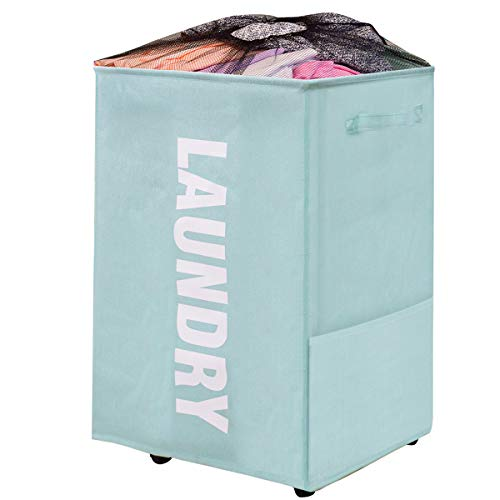 Laundry Basket on Wheels, Waterproof Laundry Storage Hamper with Handles, Collapsible Dirty Clothes Basket Bins Organizer Laundry Bag (22 inches,Blue)