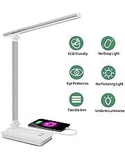 SaponinTree Lámpara Escritorio LED, Lámparas de Mesa USB Recargable con 5 Modos de Colores y 3 Niveles de Brillos, Plegable de Escritorio Control Táctil, Protege a Ojos, para Estudio, Oficina (Blanco)