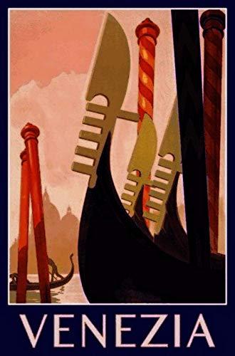 DGBELL Venice Italy Gondola Cartel de Chapa Retro Vintage Placa de Hierro Pintura Aviso de Advertencia Cartel Retro Cafe Bar película