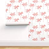 Spoonflower Peel and Stick Removable Wallpaper, Palm Tree Coral Jumbo Blush Pink Tropical Trendy Beach Print, Self-Adhesive Wallpaper 12in x 24in Test Swatch