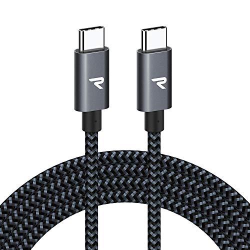 RAMPOW Cable USB C a USB C [20V/3A 60W] 2M Cable Tipo C a Tipo C con Power Delivery Compatible para Macbook Pro 2016/2017, ChromeBook Pixel, Samsung S9/S8/Note 8, Nintendo Switch - Gris Espacial