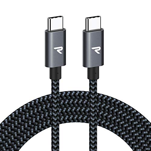 RAMPOW Cable USB C a USB C [20V/3A 60W] 2M Cable Tipo C a Tipo C con Power Delivery Compatible para Macbook Pro 2016/2017, ChromeBook Pixel, Samsung S9/S8/Note 8, Nintendo Switch - Gris Espacial