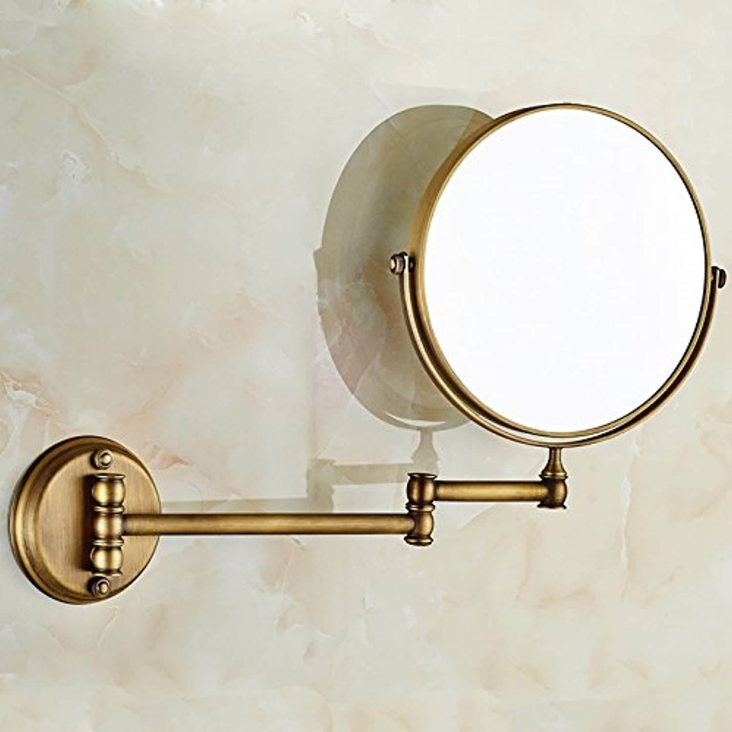 Folding mirror bathroom mirrors aluminum mirror in space two-sided mirror Flex wall mount makeup mirror-8 inch (Punch) antique 8 inches 20 cm