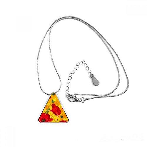 Collar con colgante en forma de triángulo de amapolas de maíz con diseño de flores de lona para decoración de plantas con cadena para regalo