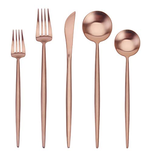 SHARECOOK 5-teiliges Besteck-Set aus mattem Roségold, Besteck-Set aus Edelstahl, satiniert, Küchenutensilien-Set, Besteck-Set für Zuhause und Restaurant, spülmaschinenfest