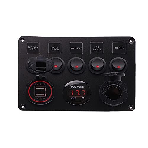 XQMY Panel de balancín 5/6 Interruptor de Palanca de pandillas con Dual USB Accesorios de lancha rápida Impermeable Ajuste para camión de Coche de Barco Marino (Color : 5GangRed)