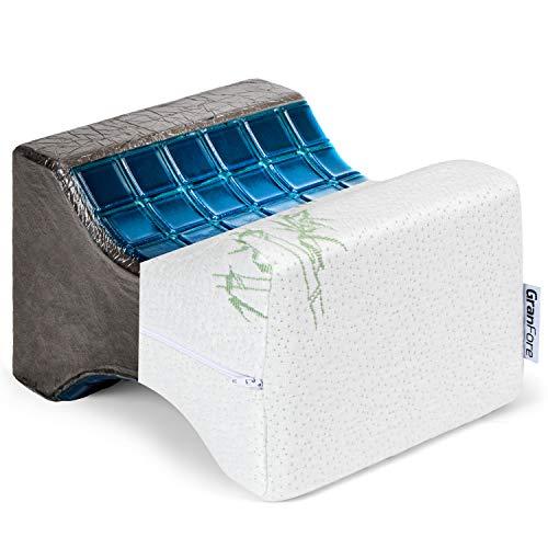 GranFore Kniekissen aus umweltfreundlichem Bambus - Hochwertiges Beinkissen mit integrierten Gel Kühlpads - Orthopädisches Kniekissen für Seitenschläfer - Leg Pillow