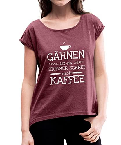 Kaffeetasse Gähnen Stummer Schrei Kaffee Frauen T-Shirt mit gerollten Ärmeln, XL, Bordeauxrot meliert