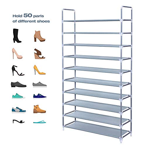 Acedas 10 Tiers Shoe Rack 50 Pairs Non-Woven Fabric Shoe Storage Organizer Cabinet Tower (Gray)