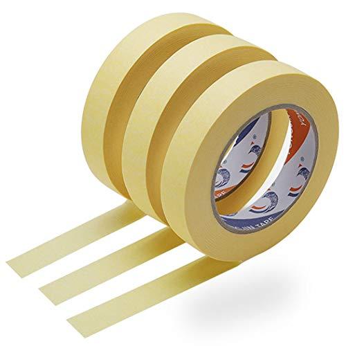 3 Rotoli Carta Adesiva per Mascheratura, Nastro Adesivo di Carta, 25MM x 50M Nastro Coprente per Imbianchino e Mascheratura Rifinitura Carrozzieri