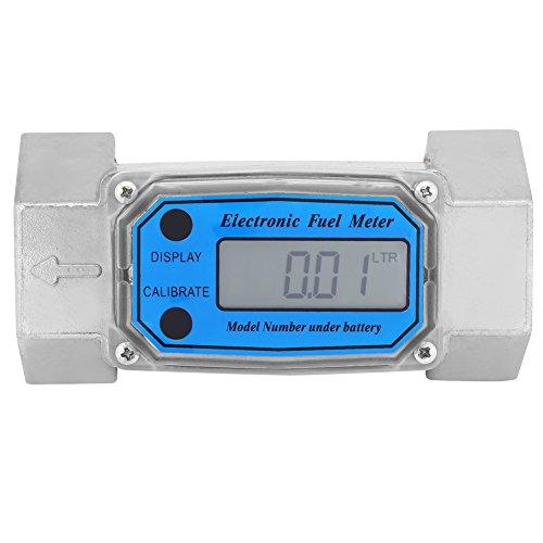 Débitmètre Numérique à Turbine en Aluminium avec Affichage LCD Numérique Débitmètre de Carburant Diesel 15-120L 1.5pouces NPT Bleu