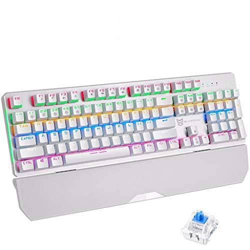 Guanwen Mechanische Game Toetsenbord Kabel Drijvende Keycap Blauw Schakelaar 104 Sleutel Grote Hand Ondersteuning Mix Verlichte Metalen Paneel (Ondersteuning Macro Programmering), Kleur: wit