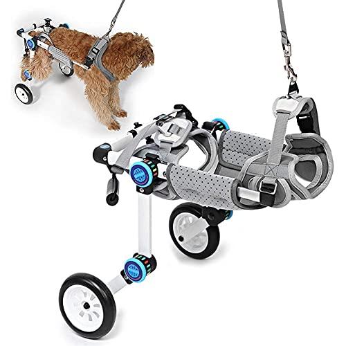 Silla de Ruedas para Perros discapacitados, Coche de rehabilitación para Mascotas, extremidades traseras fáciles de Desmontar con la Hebilla Schnauzer liviano Perros pequeños para Teddy(XXXS)