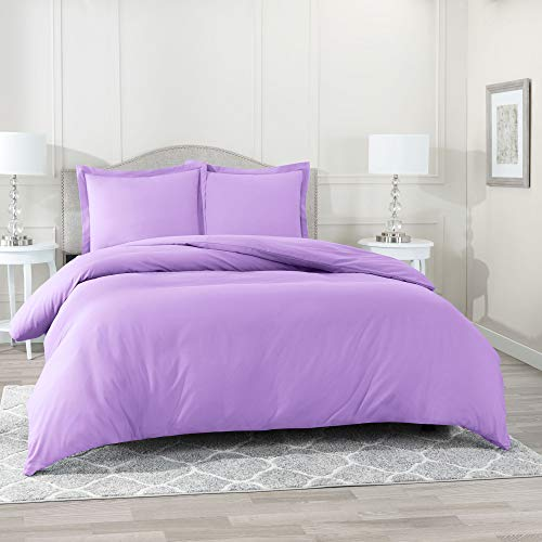 "Nestl Bedding Duvet Cover Set – Ultra Soft 100% Microfiber Hotel Collection 2 Piece Set with 1 Pillow Sham - Insert Comforter Protector, Button Closure – Twin (Single) 68""x90"", Lavender Light Purple"