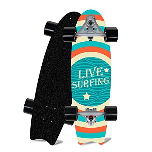 TR-yisheng Vintage Cruiser Skateboard (Streifenmuster) 20-Zoll-Fishboard Land Surfboard, geeignet für Teenager und Erwachsene
