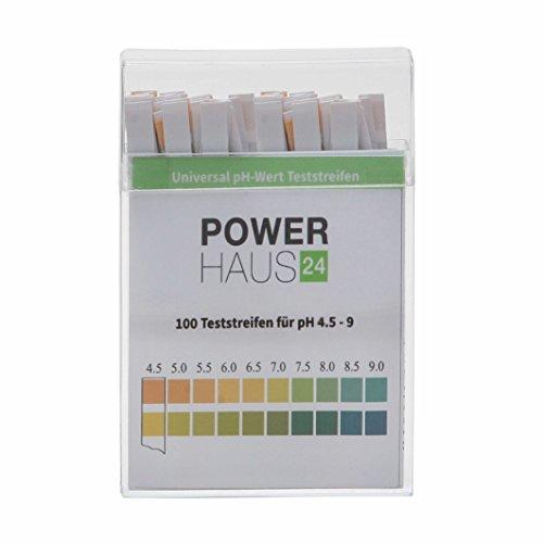 POWERHAUS24 pH Teststreifen, Messbereich von pH 4,5 bis 9, für Urin oder Speichel, 100 Stück