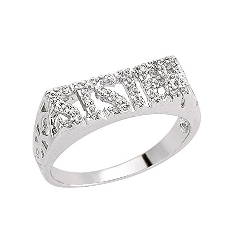 Jewelco London Ladies Rhodium Plated Sterling Silver Cubic Zirconia Pave SISTER ID Signet Ring, Size L