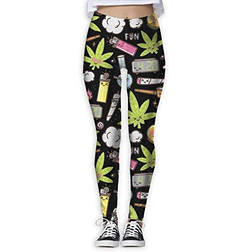 QIAOJIE-High Waist Ultra Soft Lightweight Leggings, Cute Weed Leaf Pot Cannabis Funny Girls Exercise Stretch Footless High Waist Leggings Pants