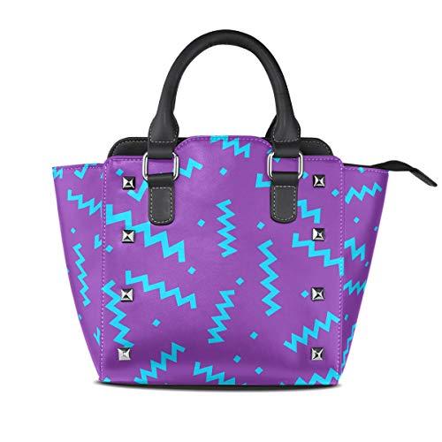 MALPLENA Azure Wave Line Violet Background Off Shoulder Borse Work Bag