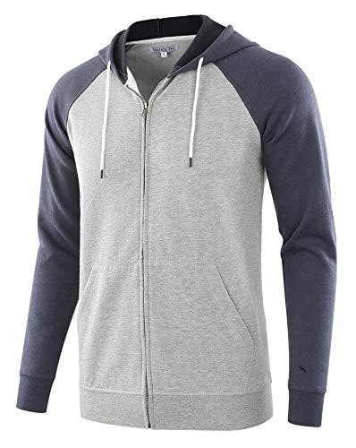 HARBETH Men's Athletic Fit Full Zip Fleece Hooded Sweatshirt Active Hoodie H.Gray/C.Blue S
